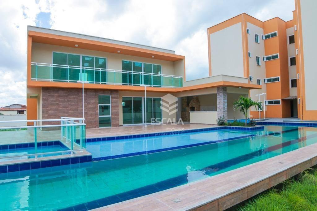Apartamento com 3 quartos à venda, 61 m², área de lazer, 2 vagas, financia - Curicaca - Caucaia/CE