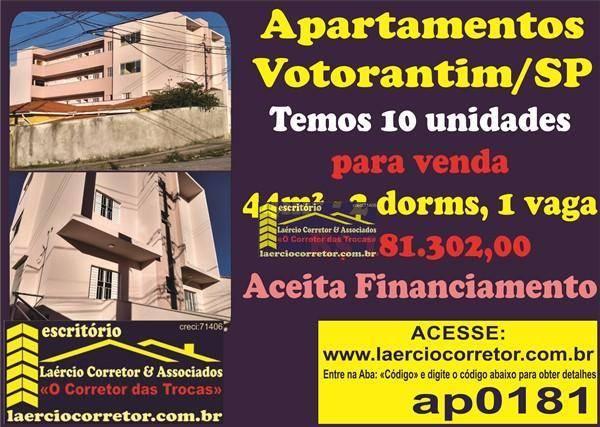Apartamento com 1 ou 2 dormitórios (com ou sem suíte) à venda/permuta, 44 a 64,4 m² por R$ 181.302 a 288.180,00- Jardim Maria José - Votorantim/SP.