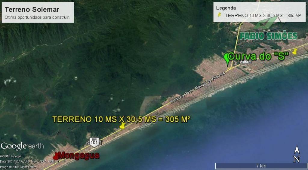 Terreno plano, com asfalto, documentação em dia, no Solemar em Praia Grande