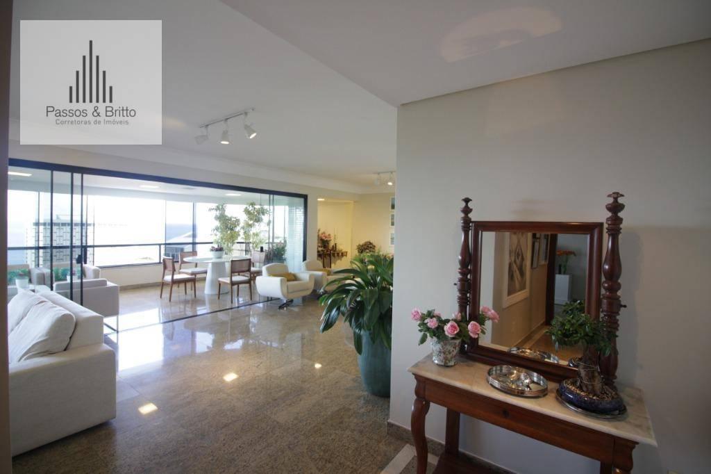 Apartamento com 4 suítes, 4 vagas, 2 varandas, vista mar, 295 m² por R$ 2.950.000 - Ondina - Salvador/BA