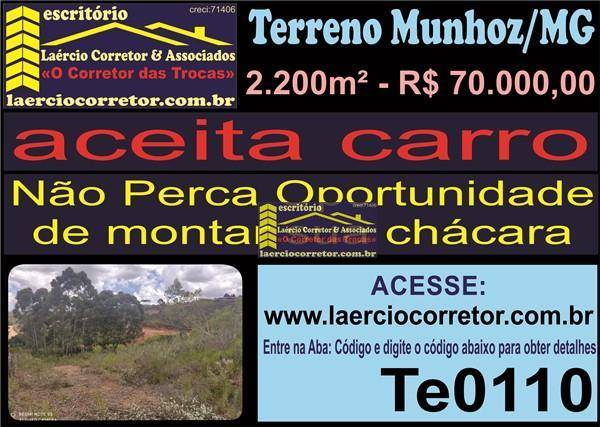Terreno à venda, 2.200m² por R$ 70.000 - Recanto dos Pássaros (zona Rural) - Munhoz/MG