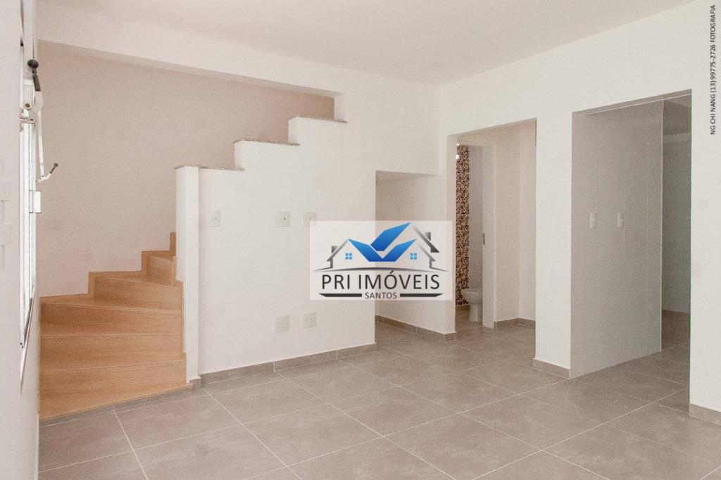 Sobrado com 2 dormitórios à venda, 120 m² por R$ 435.000 - Macuco - Santos/SP