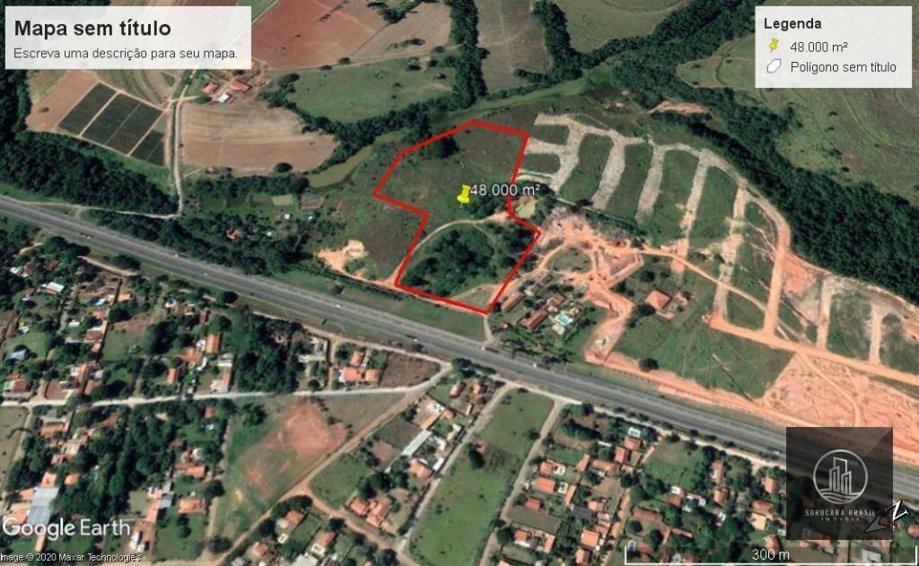 Área à venda, 48000 m² por R$ 1.980.000 - Araçoiaba da Serra - Araçoiaba da Serra/SP, 100 M de frente a 1 km do trevo de Araçoiaba.