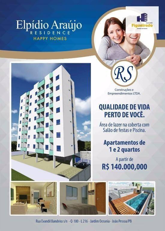 Apartamento com 1 dormitório à venda, 37 m² por R$ 170.845 - Jardim Oceania - João Pessoa/PB
