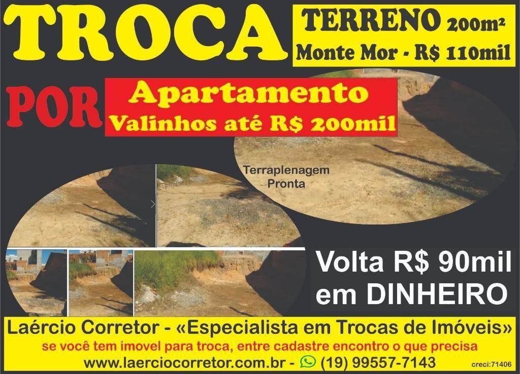 Troca Terreno Monte Mor POR Apartamento Valinhos OU Pq Prado Campinas, Volta diferença em dinheiro
