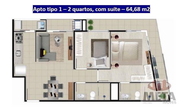 Apartamento com 1 Dormitórios à venda, 56 m² por R$ 227.752,18
