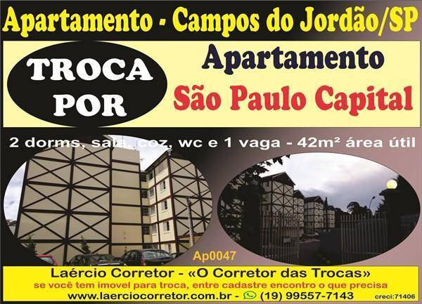 Apartamento Campos do Jordão TROCA POR Apartamento em São Paulo
