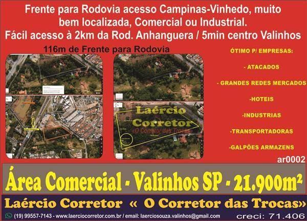 Área Comercial e Industrial em Valinhos SP, 21.900m² muito bem localizada