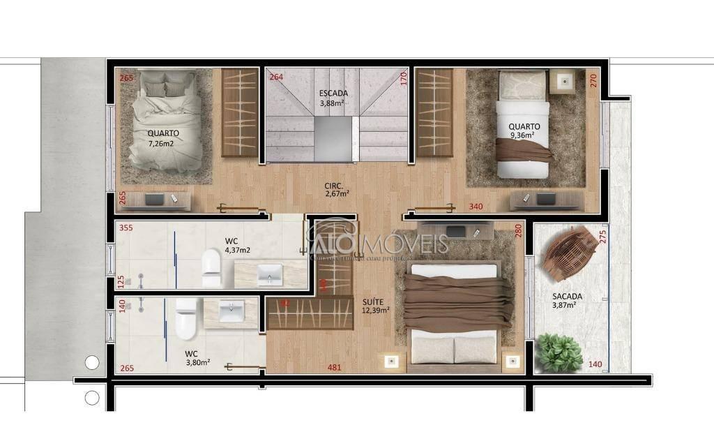 Sobrado com 3 dormitórios à venda, 124 m² por R$ 340.697 - Iguaçu - Araucária/PR