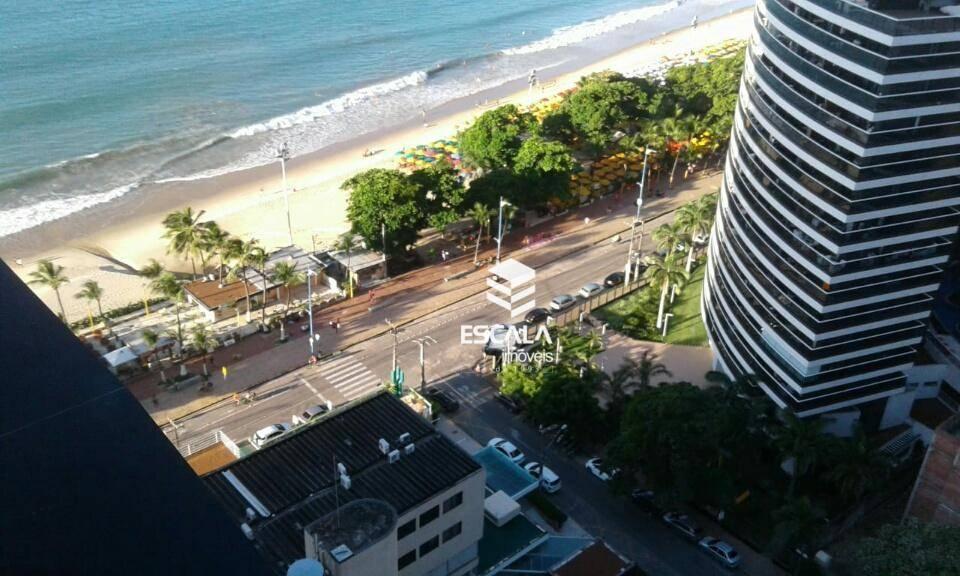 Flat com 1 quarto à venda no Meireles, linda vista mar, a 120m da Beira Mar, mobiliado, andar alto