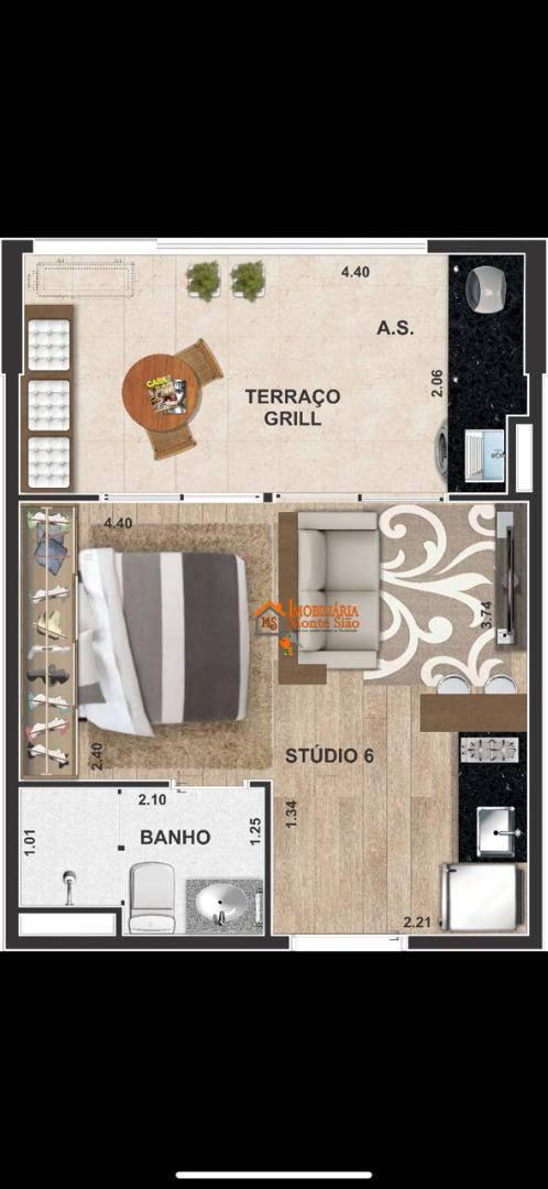 Studio com 1 dormitório à venda, 36 m² por R$ 268.140,00 - Centro - Guarulhos/SP