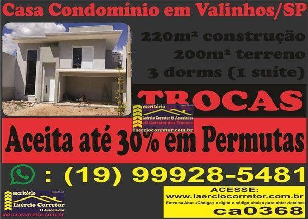 Casa com 3 dorms à venda, 220m² por R$ 999mil - Condomínio Residencial São Lourenço - Valinhos/SP - Estuda Trocas até 40% do valor