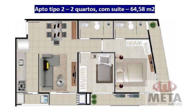Apartamento com 2 Dormitórios à venda, 64 m² por R$ 341.066,87