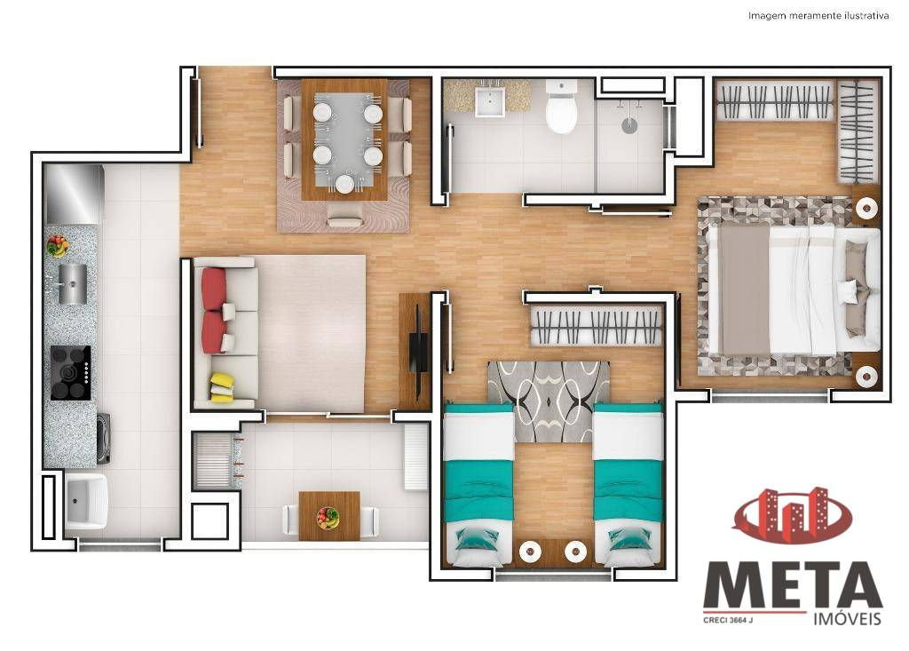 Apartamento com 2 Dormitórios à venda, 54 m² por R$ 230.403,15