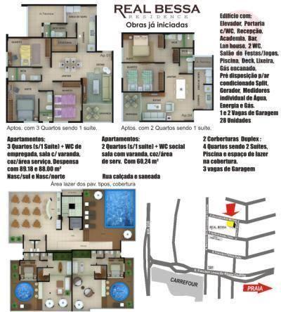Apartamento residencial à venda, Bessa, João Pessoa - AP0044