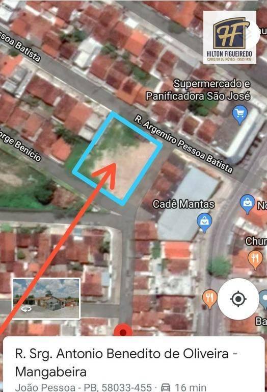 Área à venda, 1280 m² por R$ 850.000 - Mangabeira - João Pessoa/PB
