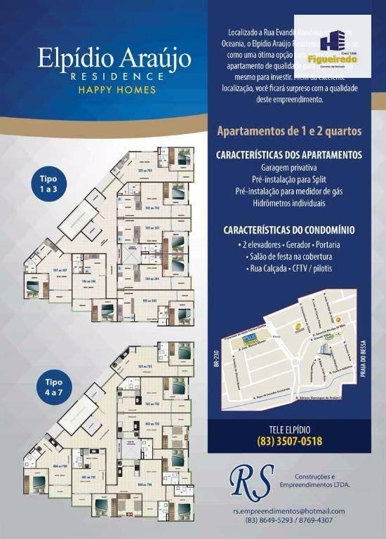 Apartamento com 1 dormitório à venda, 37 m² por R$ 173.071 - Jardim Oceania - João Pessoa/PB