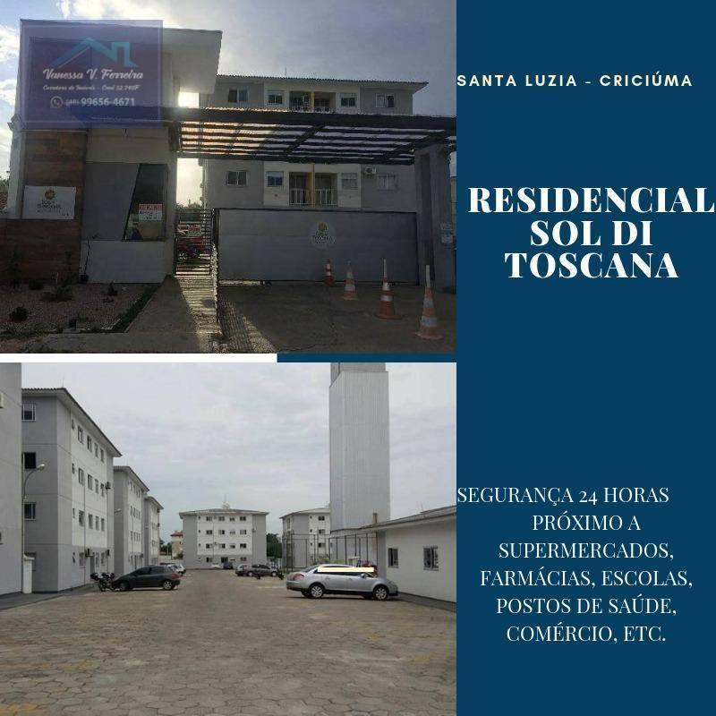 Apartamento com 2 dormitórios à venda, 52 m² por R$ 105.000,00 - Santa Luzia - Criciúma/SC