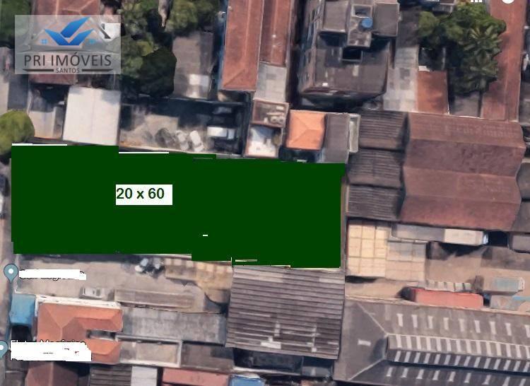 Área à venda, 1200 m² por R$ 2.650.000,00 - Macuco - Santos/SP