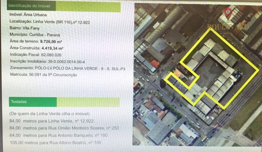 Barracão  Terreno 9.726,00 na Linha Verde em Vila Fany