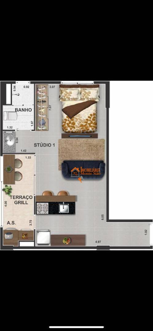 Studio com 1 dormitório à venda, 36 m² por R$ 270.621,00 - Centro - Guarulhos/SP