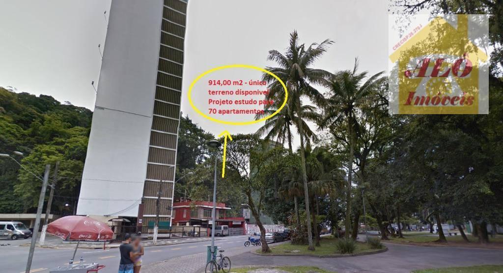 Terreno à venda, 914 m² por R$ 2.742.000,00 - Centro - São Vicente/SP