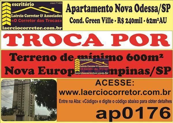 Apartamento Nova Odessa/SP com 62m² área util, Elevador, Prédio Novo - R$ 240mil
