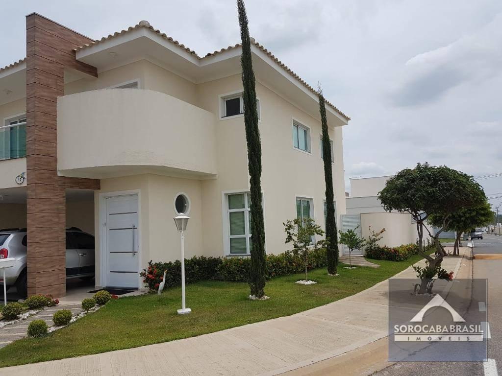 Sobrado com 3 dormitórios para alugar, 200 m² por R$ 4.500/mês - Condomínio Villagio Milano - Sorocaba/SP, próximo ao Supermercado Santo.
