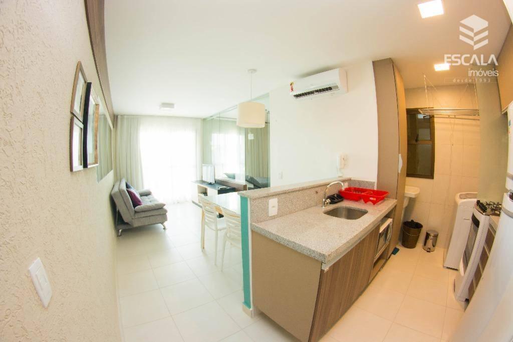 Apartamento para locação no Cumbuco, 1 suíte, 100% mobiliado, vista mar, Lazer, Com Internet / TV a Cabo